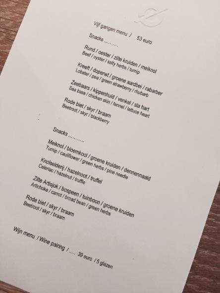 het menu: wisselt zeer regelmatig
